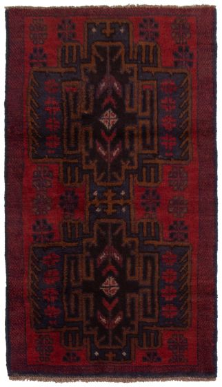 Bordered  Tribal Red Area rug 3x5 Afghan Hand-knotted 360570