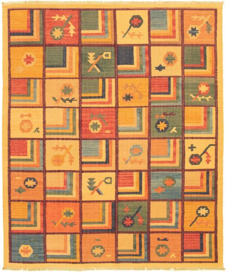 Casual  Transitional Orange Area rug 6x9 Turkish Flat-weave 335981