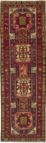 Tribal  Vintage Red Runner rug 10-ft-runner Persian Hand-knotted 243193