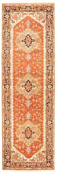 Bordered  Traditional Brown Runner rug 10-ft-runner Indian Hand-knotted 344569