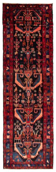 Bordered  Traditional Blue Runner rug 15-ft-runner Persian Hand-knotted 358600