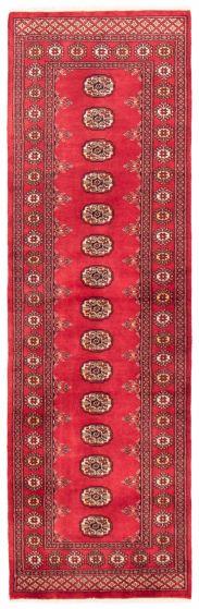 Bordered  Tribal Red Runner rug 9-ft-runner Pakistani Hand-knotted 360004