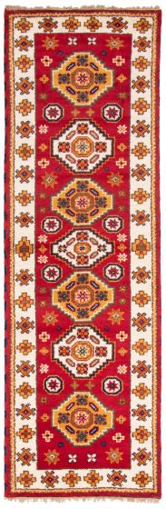 Bordered  Traditional Red Runner rug 9-ft-runner Indian Hand-knotted 363160