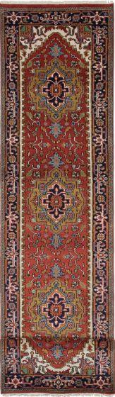 Floral  Traditional Orange Runner rug 12-ft-runner Indian Hand-knotted 208486