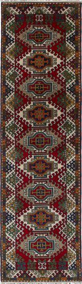 Bordered  Tribal Red Runner rug 10-ft-runner Indian Hand-knotted 233083
