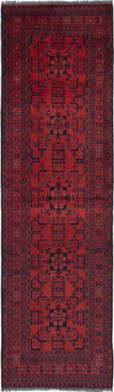 Traditional Brown Runner rug 10-ft-runner Afghan Hand-knotted 235954