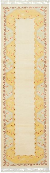 Bordered  Traditional Ivory Runner rug 9-ft-runner Turkish Hand-knotted 293700