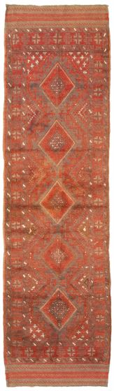 Bordered  Tribal Brown Runner rug 9-ft-runner Afghan Hand-knotted 342746