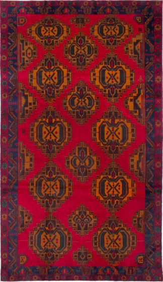 Geometric  Traditional Red Area rug Unique Afghan Hand-knotted 212334