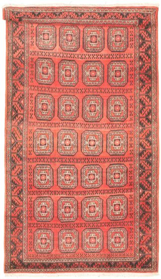 Bordered  Tribal Red Area rug Unique Russia Hand-knotted 319280