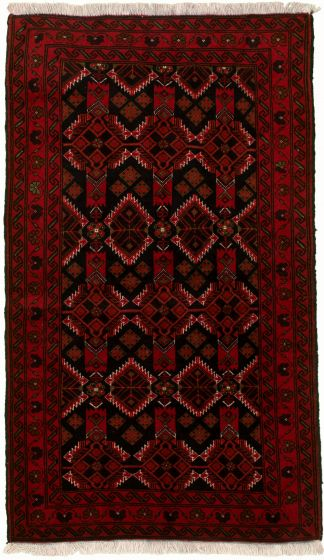 Bordered  Tribal Red Area rug 3x5 Afghan Hand-knotted 334130