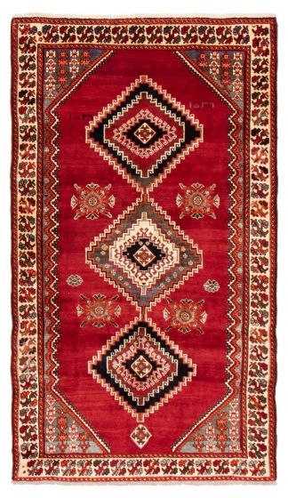 Bordered  Tribal Red Area rug 5x8 Persian Hand-knotted 358525