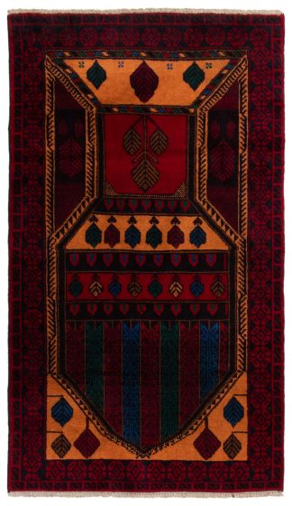 Bordered  Tribal Red Area rug 3x5 Afghan Hand-knotted 360595