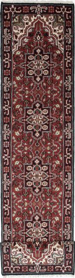 Geometric  Traditional Red Runner rug 16-ft-runner Indian Hand-knotted 219414