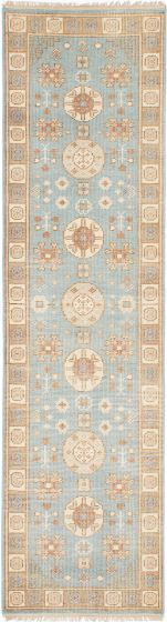 Floral  Traditional Blue Runner rug 10-ft-runner Indian Hand-knotted 222638