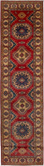 Bohemian  Geometric Red Runner rug 19-ft-runner Afghan Hand-knotted 271414