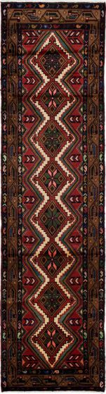 Bordered  Persian Brown Runner rug 10-ft-runner Persian Hand-knotted 276268