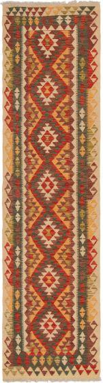 Bordered  Geometric Red Runner rug 10-ft-runner Turkish Flat-weave 297538