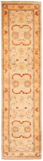 Bordered  Traditional Ivory Runner rug 10-ft-runner Afghan Hand-knotted 331534
