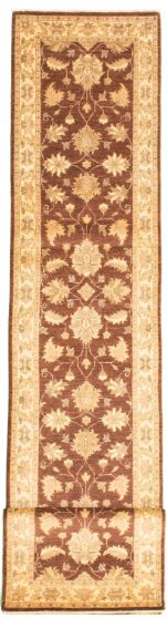 Bordered  Traditional Brown Runner rug 13-ft-runner Afghan Hand-knotted 331536