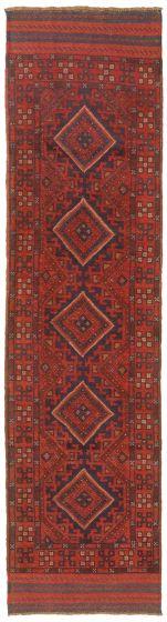 Bordered  Tribal Red Runner rug 8-ft-runner Afghan Hand-knotted 342487