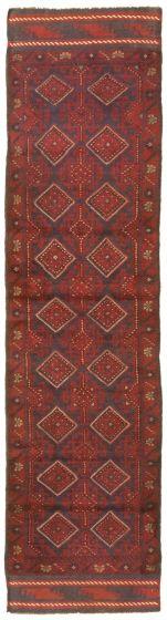 Bordered  Tribal Red Runner rug 9-ft-runner Afghan Hand-knotted 342713