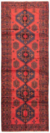 Bordered  Tribal Red Runner rug 13-ft-runner Afghan Hand-knotted 342434