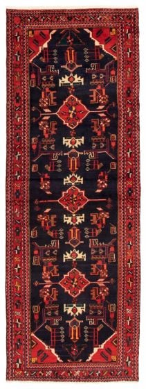Bordered  Traditional Blue Runner rug 9-ft-runner Turkish Hand-knotted 353313