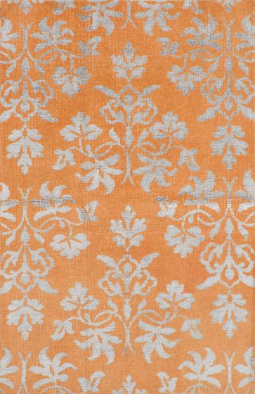 Transitional Orange Area rug 5x8 Indian Hand-knotted 221883