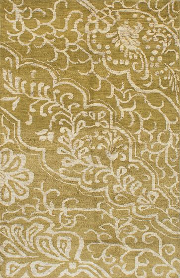 Transitional Green Area rug 5x8 Indian Hand-knotted 221986