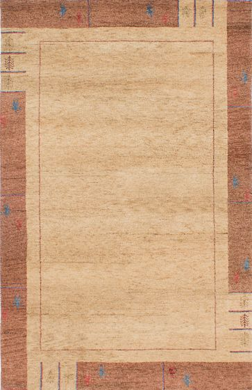 Gabbeh  Tribal Ivory Area rug 5x8 Indian Hand-knotted 230555