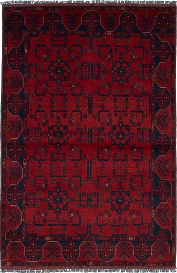 Traditional  Tribal Red Area rug 3x5 Afghan Hand-knotted 235618