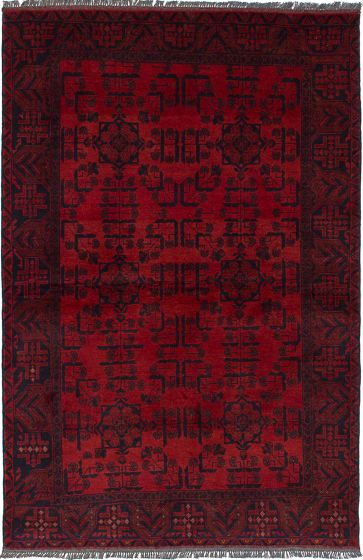 Traditional Red Area rug 3x5 Afghan Hand-knotted 235619