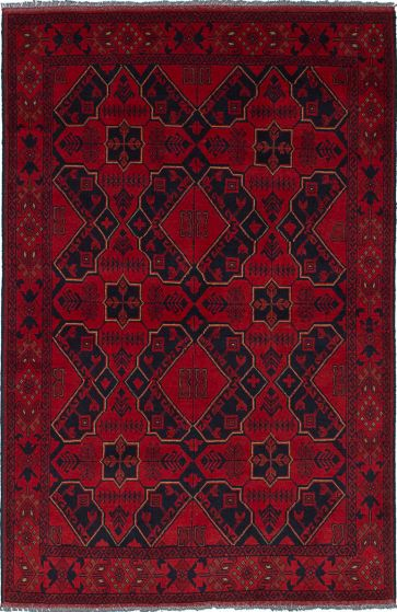 Traditional Red Area rug 3x5 Afghan Hand-knotted 236263