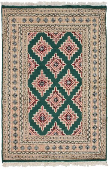 Bordered  Tribal Green Area rug 3x5 Pakistani Hand-knotted 260274