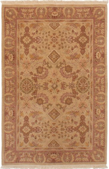 Bordered  Traditional Ivory Area rug 3x5 Indian Hand-knotted 272905