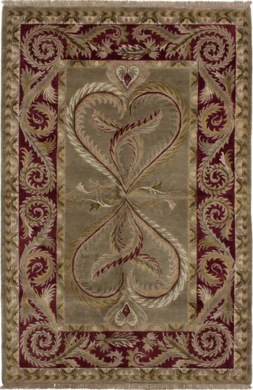 Bordered  Transitional Green Area rug 5x8 Nepal Hand-knotted 279678