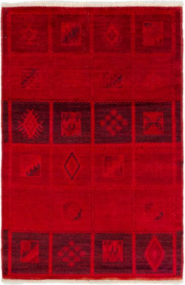 Bordered  Transitional Red Area rug 3x5 Indian Hand-knotted 280051