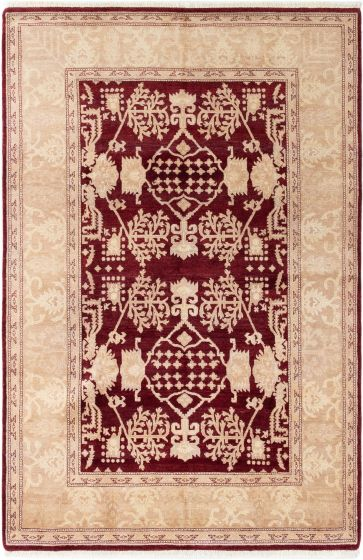 Bordered  Traditional Red Area rug 5x8 Afghan Hand-knotted 280367