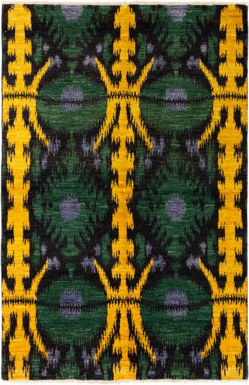 Casual  Transitional Green Area rug 5x8 Indian Hand-knotted 280512