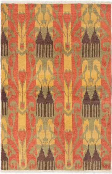 Casual  Transitional Brown Area rug 3x5 Indian Hand-knotted 280562