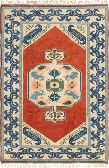 Bordered  Traditional Brown Area rug 6x9 Turkish Hand-knotted 293095