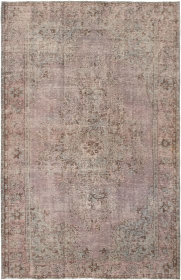 Bordered  Transitional Brown Area rug 6x9 Turkish Hand-knotted 295865