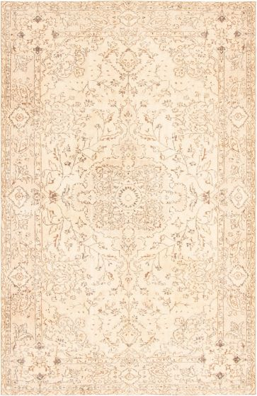 Bordered  Vintage Ivory Area rug 6x9 Turkish Hand-knotted 295884