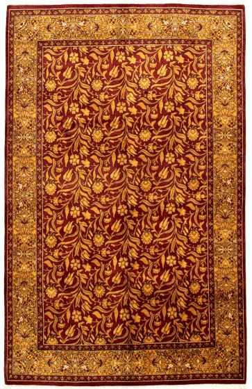 Bordered  Traditional Red Area rug 5x8 Pakistani Hand-knotted 330534