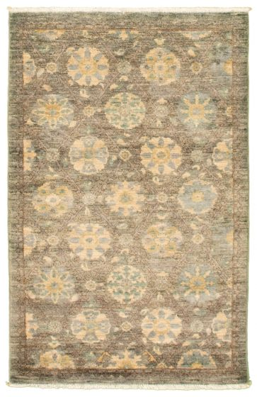 Casual  Transitional Grey Area rug 3x5 Pakistani Hand-knotted 342115
