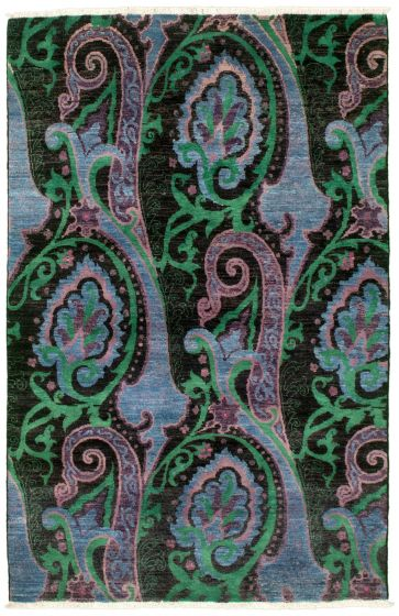 Traditional  Transitional Blue Area rug 3x5 Pakistani Hand-knotted 342175
