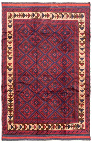 Bordered  Tribal Red Area rug 5x8 Afghan Hand-knotted 342410