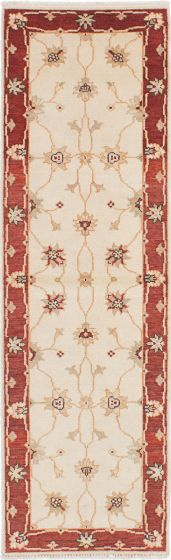 Traditional Ivory Runner rug 8-ft-runner Indian Hand-knotted 223870