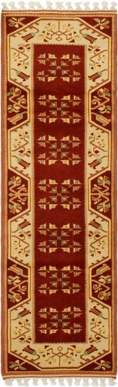 Bordered  Traditional Brown Runner rug 8-ft-runner Turkish Hand-knotted 293681